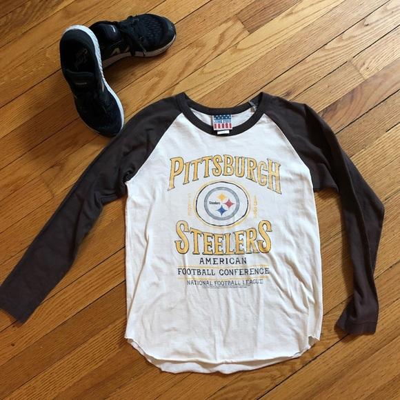 online store f8b44 8167a Junk Food Pittsburgh Steelers Football Raglan Tee